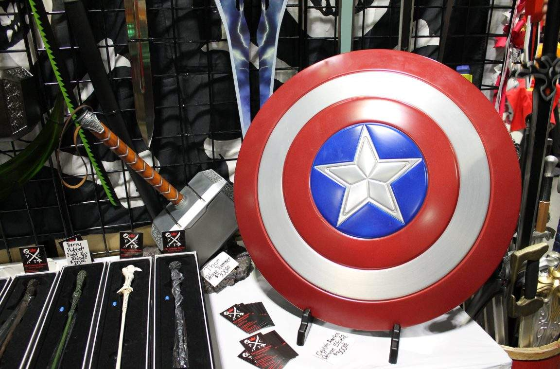 Mjolnir and Cap's shield replicas