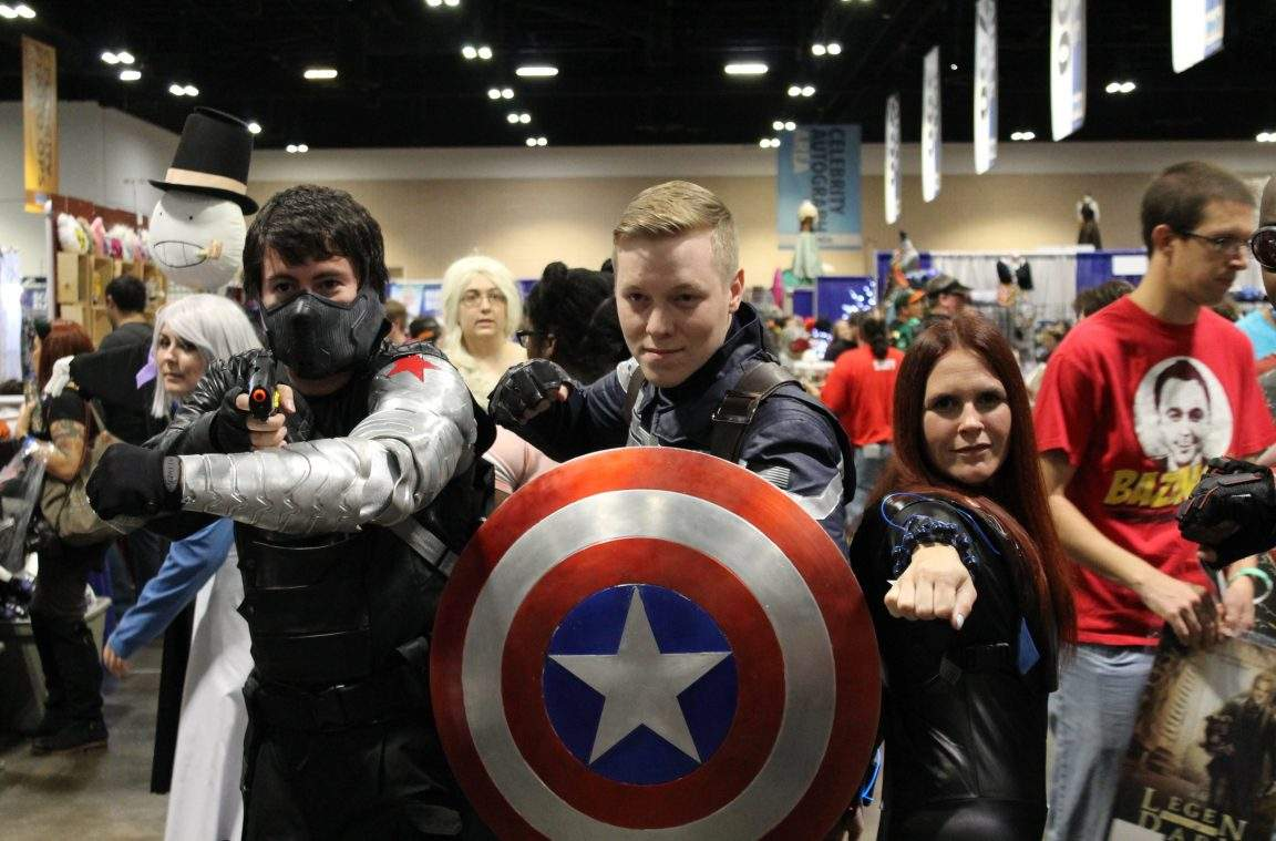 Bucky, Cap, and Widow cosplay